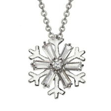 Christmas Snowflake Crystal Necklace Pendant - Festive Jewellery Stocking Filler