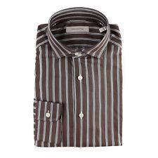 ERMENEGILDO ZEGNA Brown Herringbone Striped Classic Fit Dress Shirt M 15 NWT$395