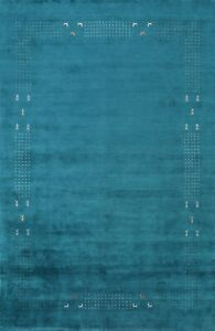 Bordered Gabbeh Oriental Area Rug Wool Hand-knotted New 8x10 Blue Modern Carpet