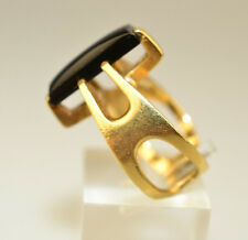 HUBERTUS VON SKAL 14K YELLOW GOLD MODERNIST SCULPTURAL ONYX RING SIZE 4.25