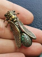 ANTIQUE VINTAGE CICADA BEETLE FOIL GLASS BROOCH