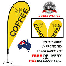 3.4m YELLOW COFFEE Teardrop Flag Banner Kit Outdoor CLY310
