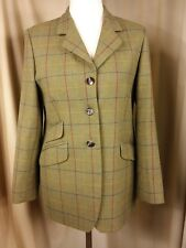 House of Bruar 100% Wool Donegal Green Check Riding Hunting Jacket UK12 EU40