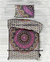 Indian Elephant Mandala Duvet Cover Twin Quilt Cover Set Cotton Reversible Throw