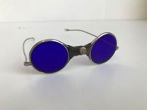Antique Welding Glasses Blue, Steampunk, Diesel Punk, Sunglasses, 1820-1900