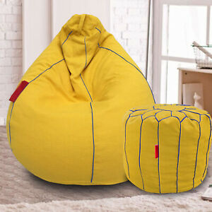 Handmade Cotton Khadi Bean Bag Cover & Footstool Yellow for luxuries Home gifts