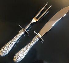 STIEFF ROSE CARVING SET BY KIRK STIEFF, STERLING SILVER AND STAINLESS,