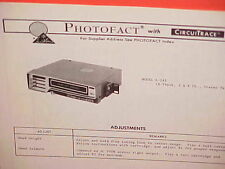 1974 LEAR JET CAR AUTO 8-TRACK STEREO TAPE PLAYER SERVICE MANUAL MODEL A-245