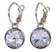 Swarovski Elements Crystal Clear Harley Pierced Earrings Rhodium Plated 7166v