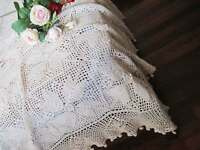 3D Floral Design Hand Crochet Table cloth Cover Bedspread Coverlet Beige XXL-C