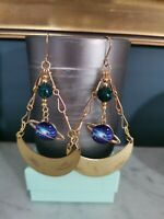 Saturn Planet Charm Antique Bronze Boho Earrings With Dyed Howlite Beads