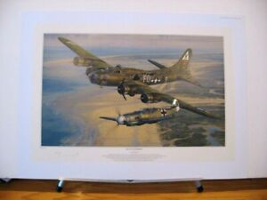 Salute to the Brave B-17 Me109 Anthony Saunders Signed Aviation Art + John Shaw
