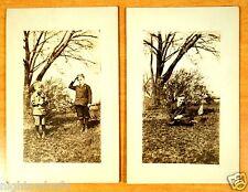 Boys Hold & Salute Flag Homefront World War One WWI 2 Vintage Photo Postcards