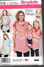 "Simplicity Pattern 8038 A  -,Child""s Age 3-8 y & 18″ Doll Vintage 1920""s Aprons"