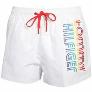 Tommy Hilfiger Pride Stripes Side Logo Athletic Men's Swim Shorts, White