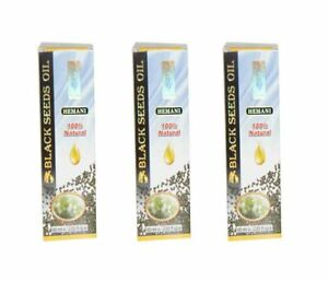 3 X Hemani Black Seed Oil (Kalonji) 60 ML , Nigella Sativa, 100% Natural