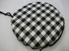 GINGHAM BLACK CIRCULAR ZIP OFF  SEAT PADS SUITABLE FOR KITCHEN/DINING ROOM
