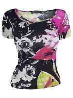 vengera maglia donna top nero floreale stretch made italy taglia it 40 s small