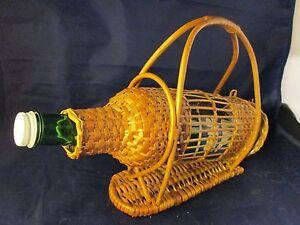 Vtg Wicker Rattan Wine Glass & Bottle Holder-Franco Albini  Decor green bottle
