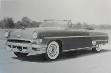 "1954 Lincoln Capri convertible 12 By 18"" Black & White Picture"