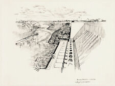 HUGH LAIDMAN Signed Orig c60s-70s Est. Drawing NIAGARA POWER PROJECT LEWISTON NY