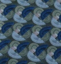 Henry Grethel Neck Tie Necktie Silk Italy Blue Green Gray Tan Swirl Geometric