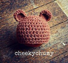 Super cute handmade crochet bear hat with ears. Photo photography prop. Newborn.