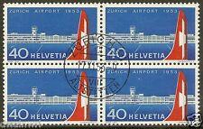 Switzerland 1953, 40¢ Zurich Airport - Sc #344 Used Block of 4, CV $42.00