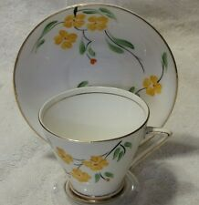 Phoenix Bone China Tea Cup Saucer  England Yellow Orange Floral Pattern