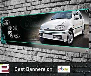 Ford Fiesta RS Turbo White Banner for Workshop, Garage, Showroom etc, Mk3