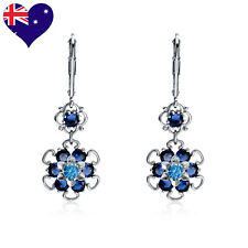 Flower Rhodium Plated Blue Topaz & Sapphire CZ Drop Earrings- Bridal Gift