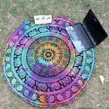 Colorful Tie-Dye Elephant Mandala Tapestry Throw Beach Blanket Boho Bohemian