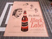 """1960s CARLING BLACK LABEL BEER { MABEL } UNUSED BEER COASTER 3/"""" x 3 1//2/"""""""