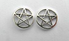 Paio Di Argento 925 Pentagramma Orecchini A Perno Nuovo