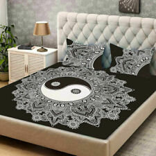 Indian Cotton Yin Yang Queen Size Bedding Set Ethnic Bed Sheet With 2 Pillows