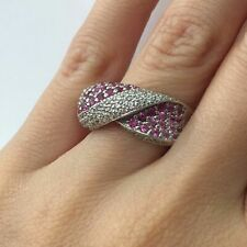 2.00 Ct LeVian Pink Sapphire and Diamond Crossover Right Hand Ring in 14k Gold