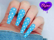 20 Set Blue White Polka dot Neon Hand Painted Press On Fake False Nails Glitter