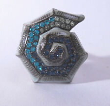 Small Blue Green Squared Geometric Conch Spiral Jeweled Adjustable Ring Math