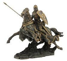 "12.25"" Medieval Armored Knight & Horse Statue Battle Warrior Sculpture Shield"