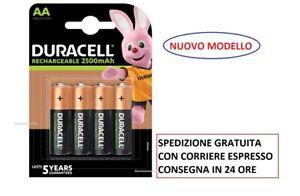 4  batterie ricaricabili STILO  AA Duracell  2500 mAh