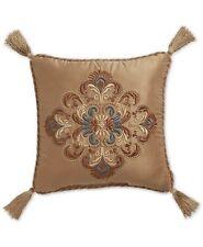 "Croscill Cadeau Damask Jacquard 16"" Square Decorative Pillow, Gold"