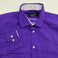 Nicole Miller Button Up Dress Shirt Men's 15-15.5 Long Sleeve Purple Polyester