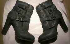 AllSaints Antigone Ankle Boots Shearling Lined Charcoal Grey Nubuck UK 7 ( 6.5 )