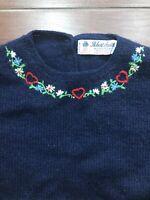 Vintage 80s Robert Scott Shetland Wool Sweater Sz 36 Embroidered Scotland
