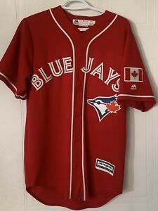 Toronto Blue Jays Canada Day Cool Base Jersey Men's Size Small Red Majestic MLB