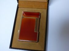 S T Dupont Line 2 Large Lighter - Amber Lacquer/Rose Gold Plated Trim - Boxed
