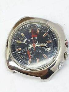 VINTAGE SICURA by BREITLING CHRONO DIVER YACHTING SWISS MEN'S 70s RARE EB 8800