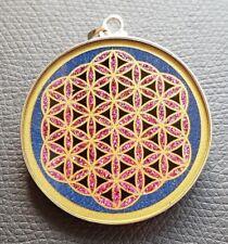 Flower Of Life 925 Silver & Lapis Sacred Geometry Pendant Necklace UK
