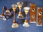 4 Pair Vintage Glass Door Knob Sets 1 Pr Amathyst 8  Point & 3 Pr 12 Pt+2 Plates