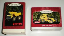 Lot Of 2 1996 1998 Hallmark Ornaments Tonka Mighty Dump Truck & Road Grader Nib